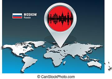 landkarte, moskow, skyline, stift