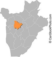 landkarte, muramvya, -, burundi
