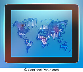 landkarte, nahaufnahme, schirm, tablette, welt