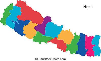 landkarte, nepal, bunte