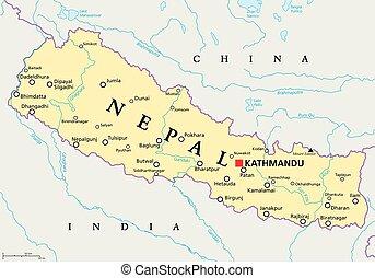 landkarte, nepal, politisch