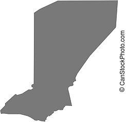 landkarte, (niger), -, diffa
