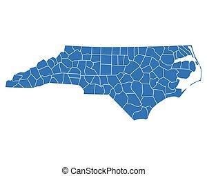 landkarte, nord-carolina