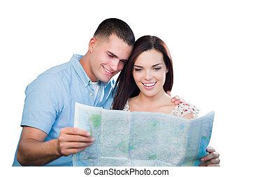 landkarte, paar, junger, freigestellt, schauen, militaer, weißes