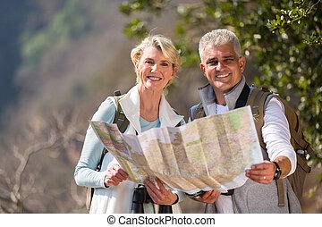landkarte, paar, mittler, alter, besitz, wanderer