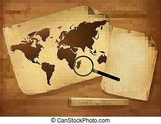 landkarte, papier, altes