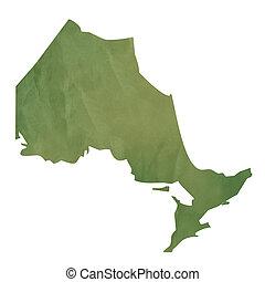 landkarte, papier, grün, ontario