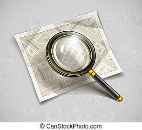 landkarte, papier, straßen, glas, werkzeug, loupe, ...