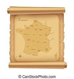 landkarte, pergament, 2, frankreich