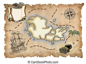 landkarte, pirat