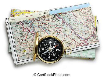 landkarte, plan, straße, kompaß