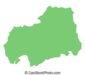 landkarte, präfektur, hiroshima