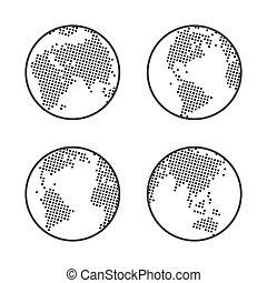 landkarte, punktiert, erdball, emblem., vector., erde, welt, logo., set., ikone