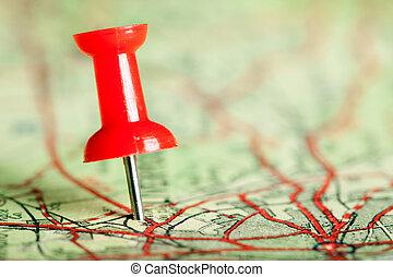 landkarte, pushpin