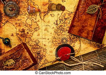 landkarte, reise, altes , hintergrund, weinlese