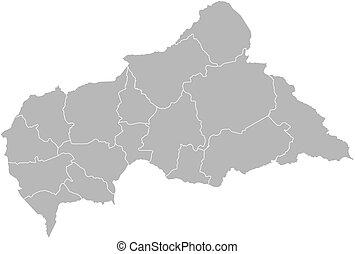 landkarte, -, republik, zentral, afrikanisch
