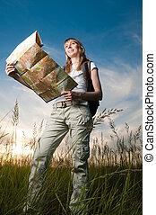 landkarte, rucksack, frau, junger