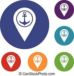 landkarte, satz, heiligenbilder, symbol, schiffsanker, meer, zeiger, hafen