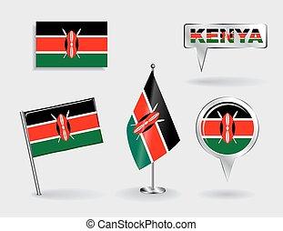 landkarte, satz, stift, zeiger, vektor, flags., kenianer, ...