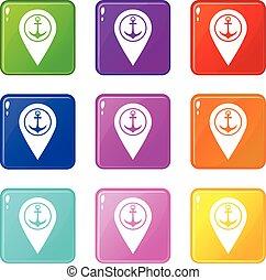 landkarte, satz, symbol, schiffsanker, meer, 9, zeiger, hafen