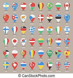 landkarte, satz, wohnung, zeiger, staaten, flaggen, welt