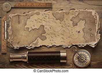 landkarte, schatz, altes , illustration., oberseite, zerrissene , ansicht, abenteuer, kompaß, life., noch, reise, concept., spyglass, 3d