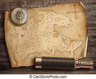 landkarte, schatz, altes , spyglass., reise, zerrissene , abenteuer, kompaß, 3d, concept., illustration.