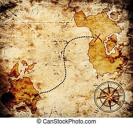 landkarte, schatz, altes