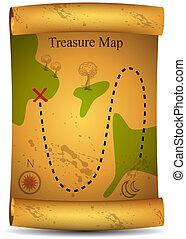 landkarte, schatz, gold