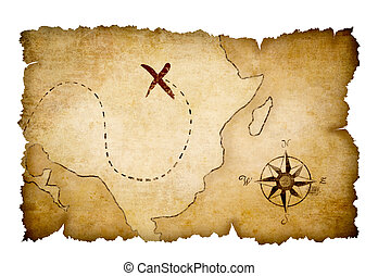 landkarte, schatz, piraten, markiert, ort