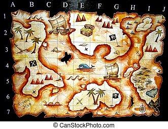 landkarte, schatz