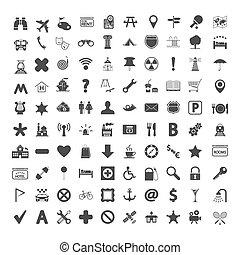 landkarte, schifffahrt, icons.