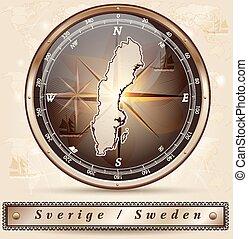 landkarte, schweden