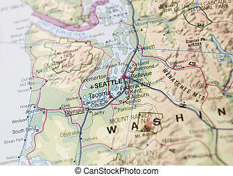 landkarte, seattle