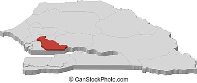 landkarte, senegal, 3d-illustration, -, kaolack