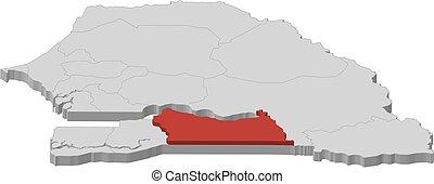 landkarte, senegal, 3d-illustration, -, kolda
