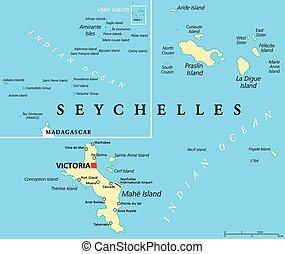 landkarte, seychellen, politisch