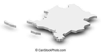 landkarte, -, sibenik-knin, (croatia), -, 3d-illustration