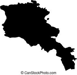 landkarte, silhouette, armenien, land, abbildung, vektor, schwarzer hintergrund, ränder, weißes