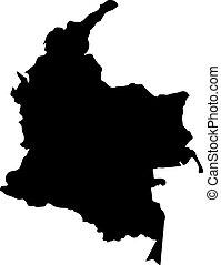 landkarte, silhouette, kolumbien, land, abbildung, vektor, schwarzer hintergrund, ränder, weißes