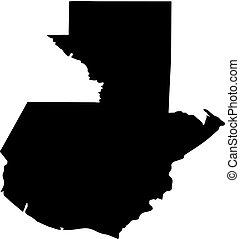 landkarte, silhouette, land, abbildung, guatemala, vektor, schwarzer hintergrund, ränder, weißes