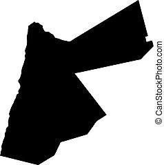 landkarte, silhouette, land, abbildung, vektor, schwarzer hintergrund, jordanien, ränder, weißes
