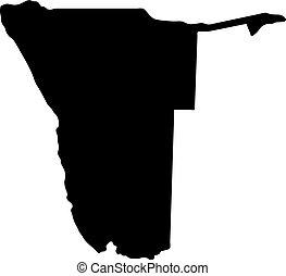 landkarte, silhouette, land, abbildung, vektor, schwarzer hintergrund, namibia, ränder, weißes
