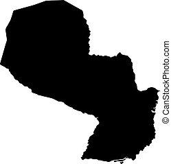 landkarte, silhouette, land, abbildung, vektor, schwarzer hintergrund, paraguay, ränder, weißes