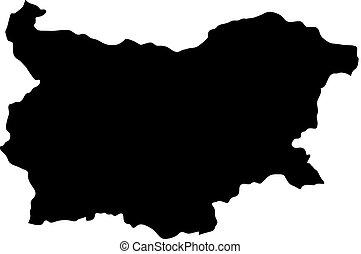 landkarte, silhouette, land, abbildung, vektor, schwarzer hintergrund, ränder, weißes, bulgarien