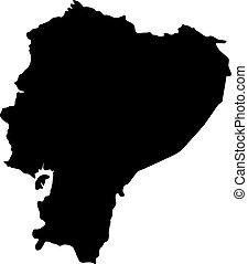 landkarte, silhouette, land, abbildung, vektor, schwarzer hintergrund, ränder, weißes, ekuador