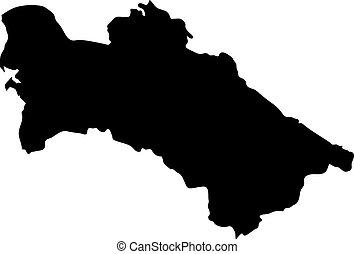 landkarte, silhouette, land, turkmenia, abbildung, vektor, schwarzer hintergrund, ränder, weißes
