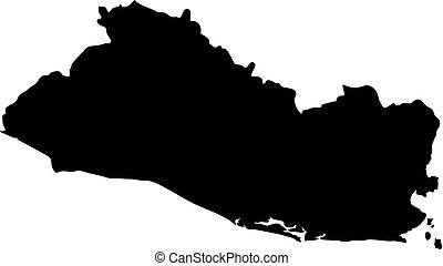 landkarte, silhouette, salvador, land, abbildung, vektor, schwarzer hintergrund, ränder, weißes