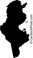 landkarte, silhouette, tunesien, land, abbildung, vektor, schwarzer hintergrund, ränder, weißes