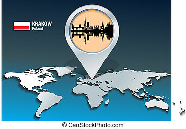 landkarte, skyline, krakow, stift